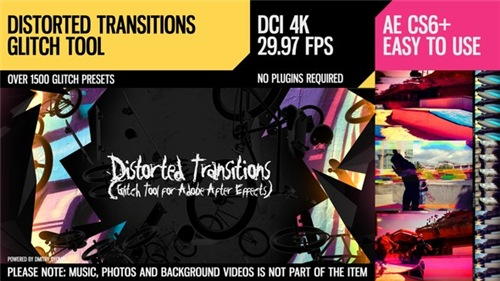 Distorted Transitions (Glitch Tool) - After Effects Project (Videohive)
