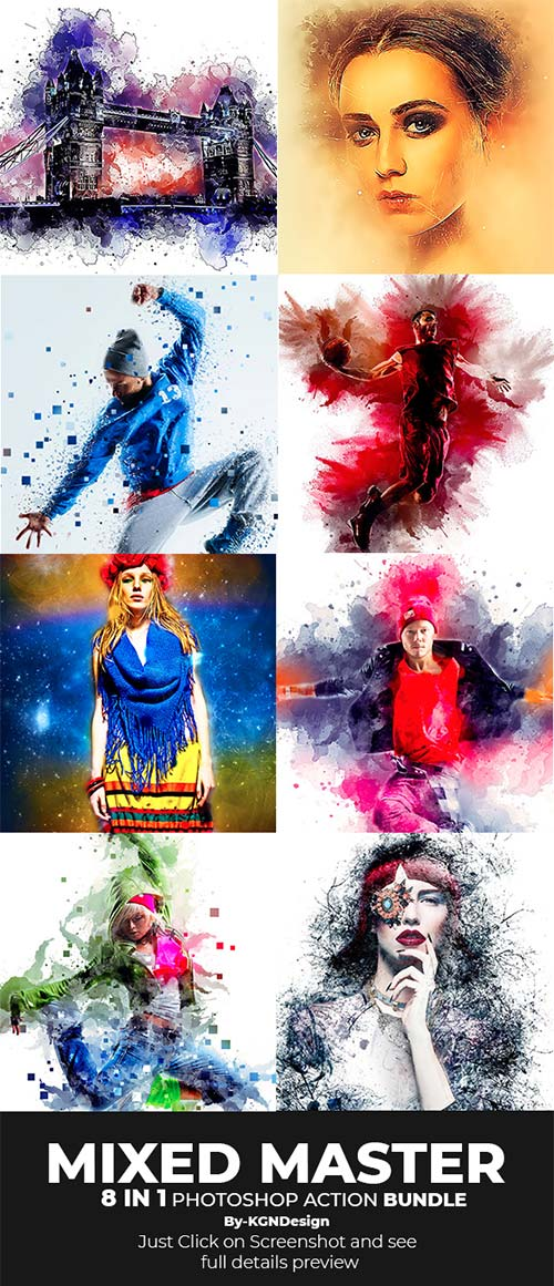 GraphicRiver Mixed Master 8-in-1 Photoshop Action Bundle